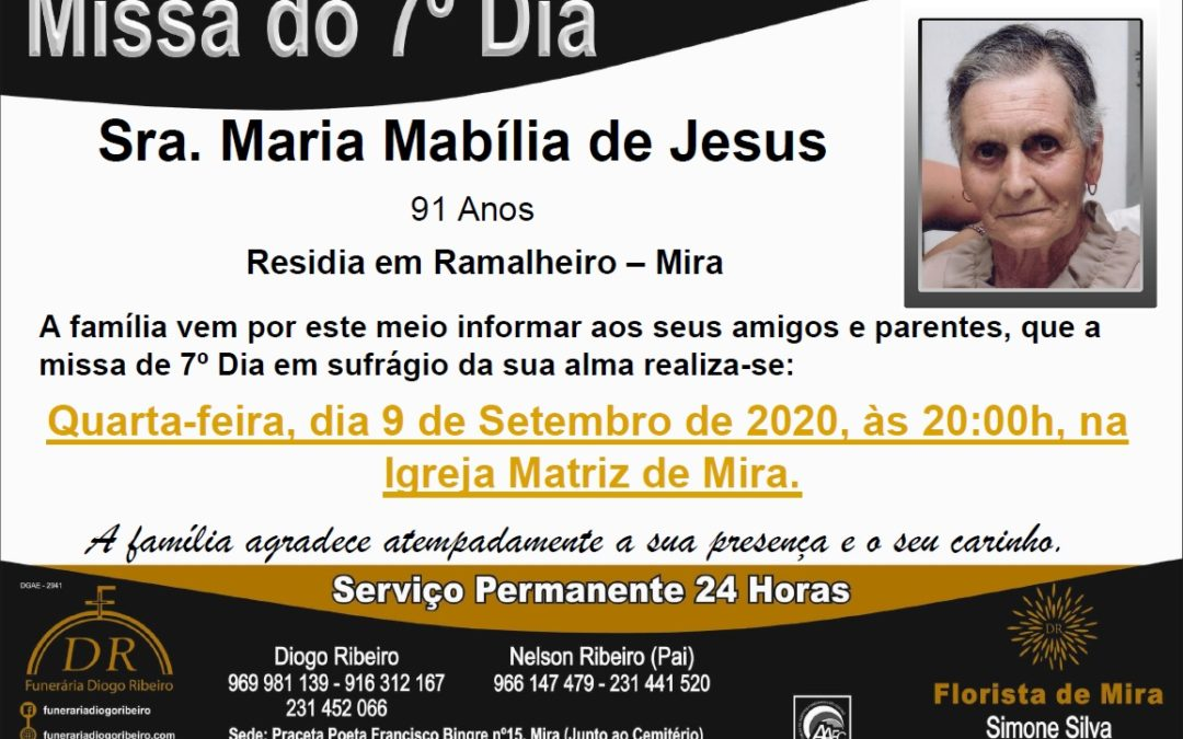 Missa 7º Dia Maria Mabília de Jesus