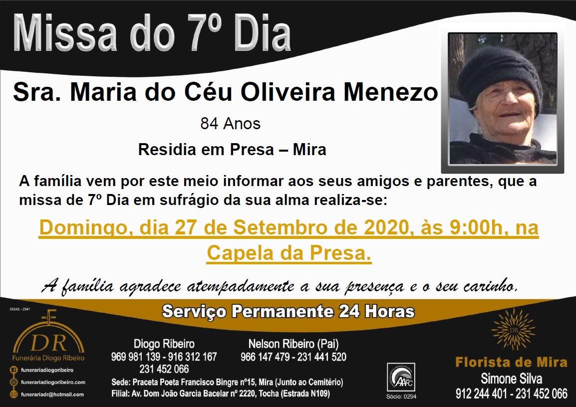 Missa 7º Dia Maria do Céu Oliveira Menezo