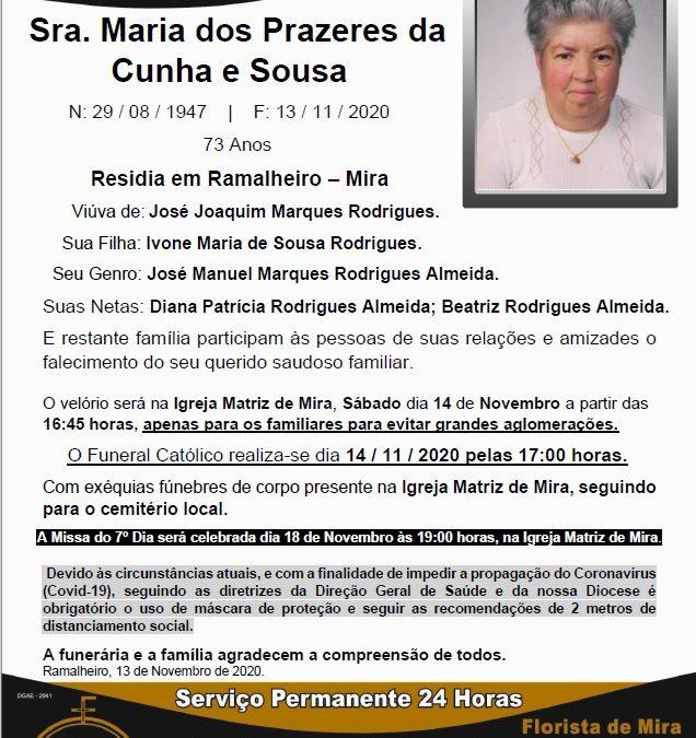 Sra. Maria dos Prazeres da Cunha e Sousa