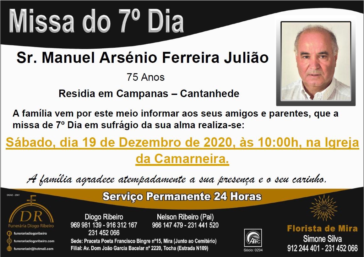 Missa 7º Dia Manuel Arsénio Ferreira Julião