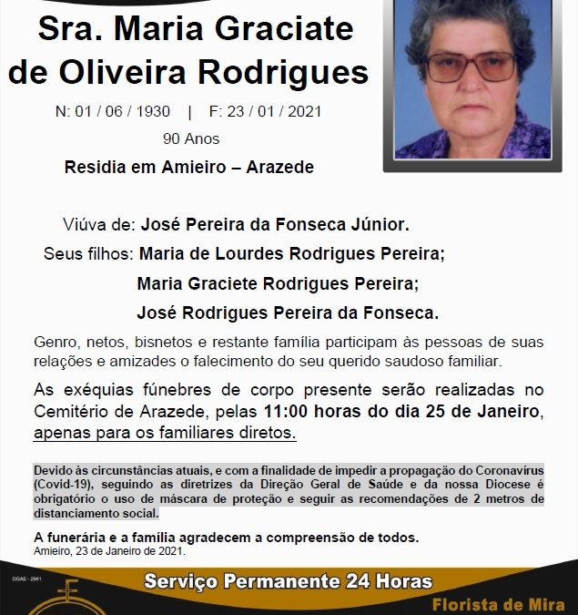 Sra. Maria Graciate de Oliveira Rodrigues